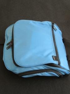 LL Bean bathroom bag zipped up for travel