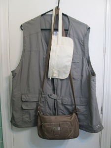 My travel vest with inside pockets, money belt, shoulder purse to prevent pickpockets.