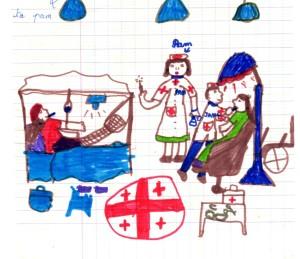 French girl's drawing of me as a nurse-my favorite souvenir!