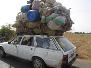 This packed car looks like it will tip over!