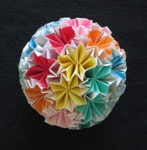 Colorful Origami ball one of the Japanese Bible Club children made for me!