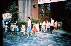 Children tour the drum tower.