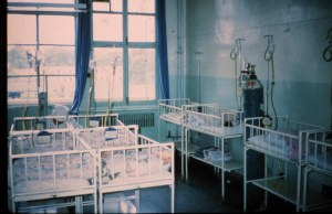 Infant nursery. Note oxygen tank against the wall