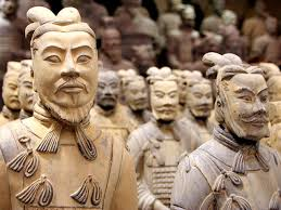 Uncovered Terra Cotta Army of Soldiers.