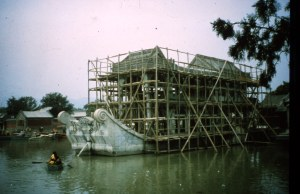 Empress Cixi's marble boat that does not float was being repaired.