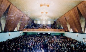 Standing room only inside packed Russian church in 1989.