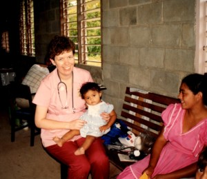 Pam holds beautiful Mayan baby girl.
