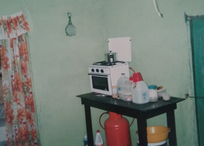 The Peace Corp worker's simple kitchen where we spent the night.