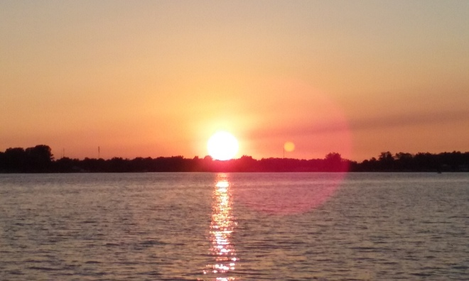 Winona Lake, Indiana, USA sunset.